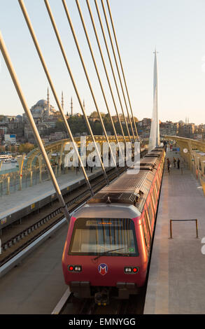 Golden Horn Metro bridge in Istanbul Turkey - Stock Photo