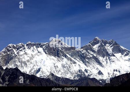 Snow Capped summit of Everest Mountain, Himalayan mountains, UNESCO World Heritage Site, Sagarmatha National Park, - Stock Photo