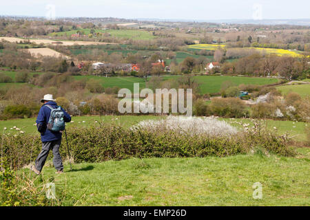 View over farmland and oast houses, Weald of Kent, Goudhurst, UK