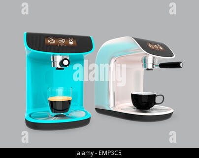 Stylish espresso coffee machines isolated on gray background - Stock Photo