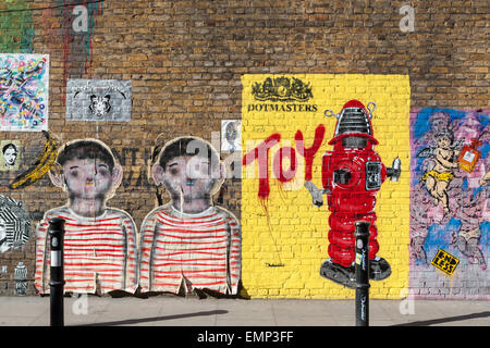 Street art in Hanbury Street, Shoreditch, in the Borough of Tower Hamlets, an area renown for its paintings and - Stock Photo