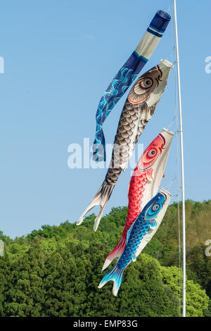 Flags shaped like Japanese Koi fish (carp) flying for boy's day in May. - Stock Photo
