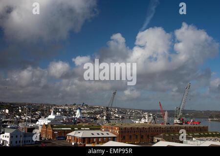 View over Falmouth dockyard, Cornwall, England, UK. - Stock Photo