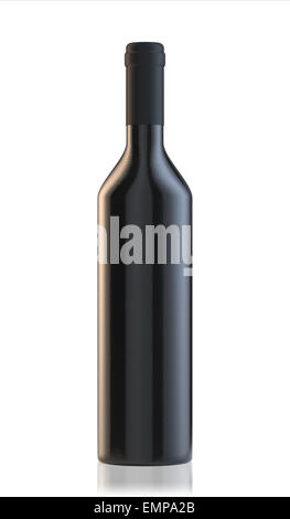 3d rendering of wine bottle isolated on white background - Stock Photo
