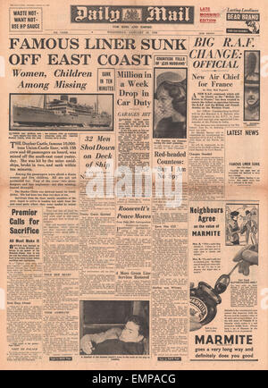 1940 front page Daily Mail sinking of Dunbar Castle - Stock Photo