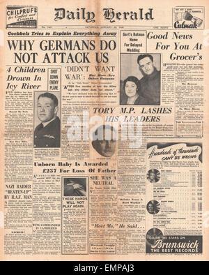 1940 front page Daily Herald Joseph Goebbels Speech