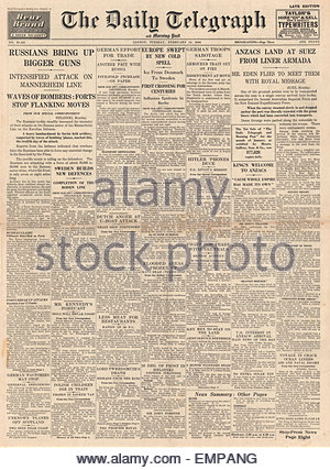1940 front page Daily Telegraph ANZAC troops arrive in Egypt big battles in Finland - Stock Photo