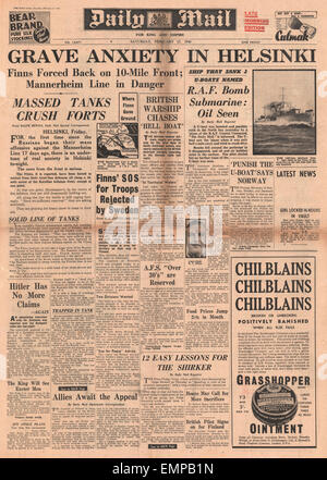 1940 front page Daily Mail Finnish withdrawal from front line  Sweden refuses to give military aid to Finland - Stock Photo