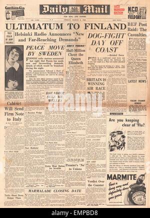 1940 front page Daily Mail Russian ultimatum to Finland - Stock Photo