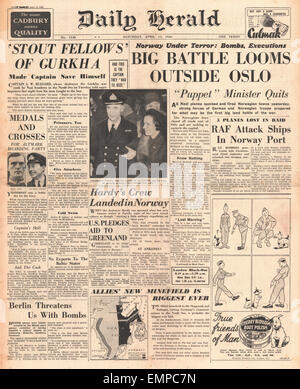 1940 front page Daily Herald Battle of Norway