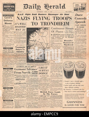 1940 front page Daily Herald Battle for Norway