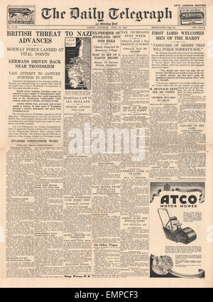 1940 front page Daily Telegraph battle for Norway - Stock Photo