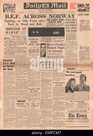 1940 front page Daily Mail Battle for Norway - Stock Photo