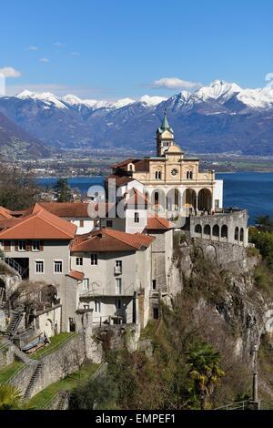 Pilgrimage church of Madonna del Sasso, Orselina, Locarno, Canton of Ticino, Switzerland - Stock Photo