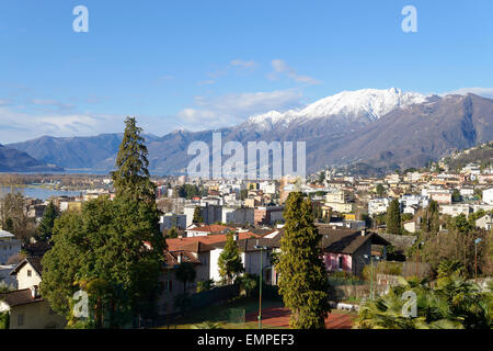 View from the pilgrimage church of Madonna del Sasso onto Locarno, Canton of Ticino, Switzerland - Stock Photo
