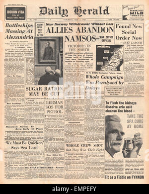 1940 front page  Daily Herald Allies abandon Namsos