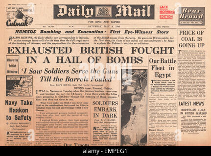 1940 front page  Daily Mail Allies abandon Namsos - Stock Photo