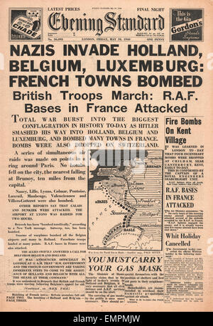 1940 front page Evening Standard German Army invade Holland, Belgium Luxembourg - Stock Photo