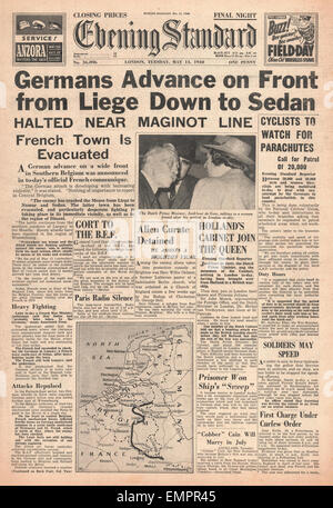 1940 front page Evening Standard German Army at Sedan - Stock Photo