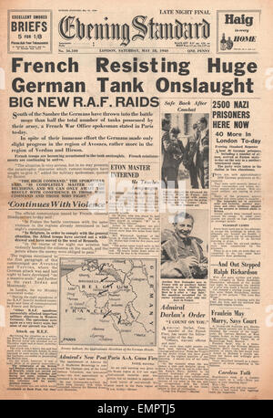 1940 front page Evening Standard Allies bid to stop German advance - Stock Photo