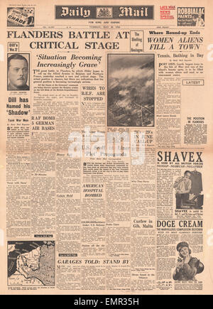 1940 front page Daily Mail Battle of Flanders - Stock Photo