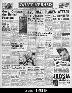 1940 front page  Daily Herald Battle of Britain Begins