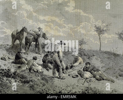 Mowing. Pause. Laborers eating. Engraving. 19th century. Spain. - Stock Photo