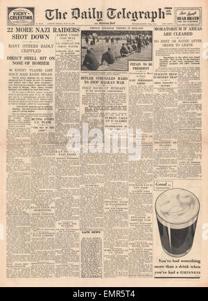 1940 front page  Daily Telegraph Battle of Britain - Stock Photo