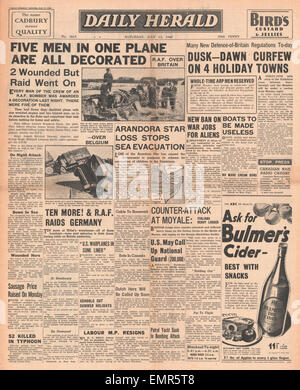 1940 front page Daily Herald Battle of Britain