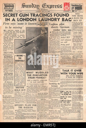 1940 front page  Sunday Express Anti Aircraft Gun Tracing found in South London laundry Battle of Britain - Stock Photo