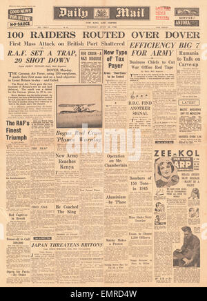 1940 front page Daily Mail Battle of Britain - Stock Photo