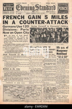 1940 front page Evening Standard (London) French army counter attack - Stock Photo