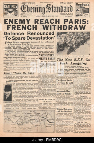 1940 front page Evening Standard (London) German Army enters Paris - Stock Photo