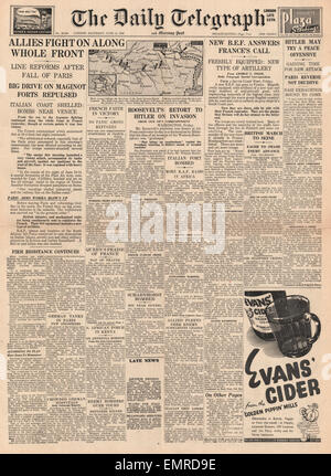 1940 front page Daily Telegraph Battle for France - Stock Photo