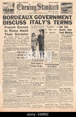 1940 front page Evening Standard French Government discuss Armistice with Italy - Stock Photo