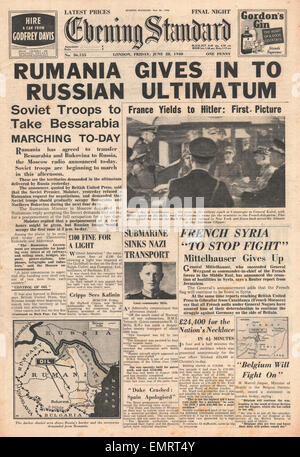 1940 front page Evening Standard Soviet ultimatum to Romania demanding the cession of Bessarabia Bukovina - Stock Photo