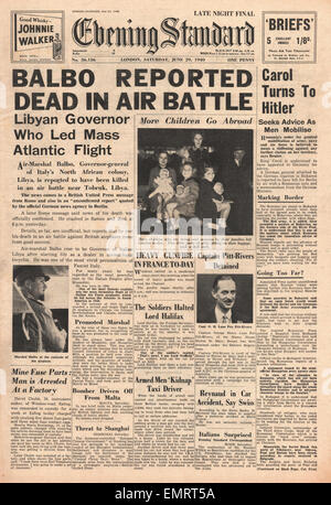 1940 front page Evening Standard (London) Air Marshall Balbo Killed over Libya - Stock Photo