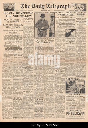 1940 front page Daily Telegraph Russia reaffirms her neutrality