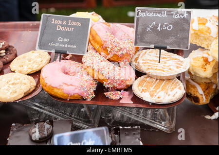 A stall selling Bakewell Tarts and other cakes at Framlingham Country Show in Framlingham , Suffolk , England , - Stock Photo