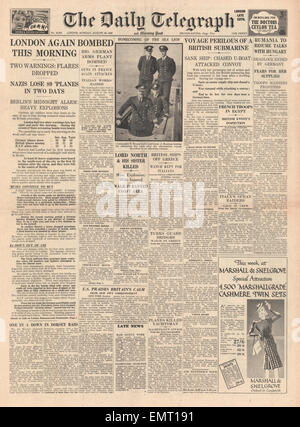 1940 front page Daily Telegraph London is bombed - Stock Photo