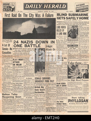 1940 front page Daily Herald London is bombed