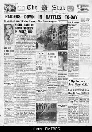 1940 front page Daily Herald RAF Bomb Hamburg and Air Battles over South East England - Stock Photo