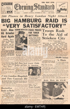 1940 front page Evening Standard (London) Bombing of Hamburg by RAF - Stock Photo