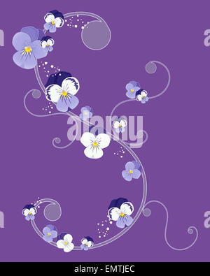 an illustration of a greeting card design with swirls and pansy flower heads on a purple background - Stock Photo