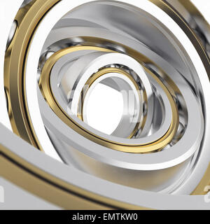 Isolated realistic whirling bearing in the bearing with light scratches on a white background. High resolution 3D - Stock Photo