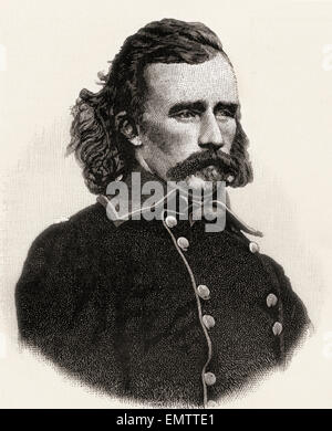 George Armstrong Custer,1839 – 1876.   United States Army officer and cavalry commander in the American Civil War - Stock Photo