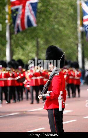 London, UK - June 16, 2012: Queen's Bands at Queen's Birthday Parade. Queen's Birthday Parade take place to Celebrate - Stock Photo
