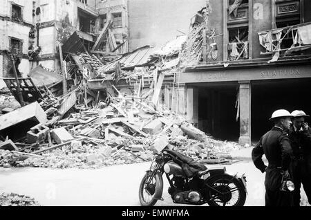 Fire station on Shaftesbury Avenue which recieved direct hit during a night raid. 17th October 1941. - Stock Photo