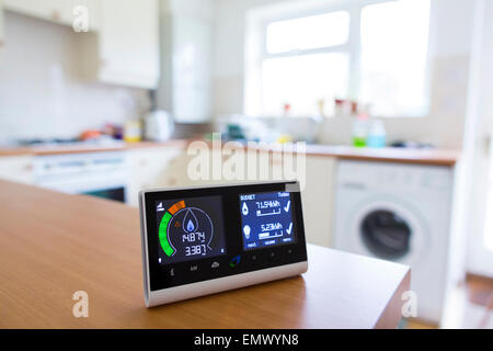 British Gas smart energy monitor in kitchen - Stock Photo