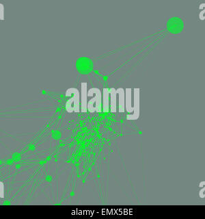 Green on grey abstract background. Connecting dots with lines - Stock Photo